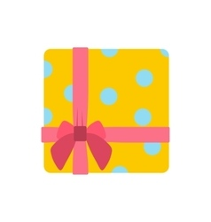 Yellow gift box with pink ribbon icon vector