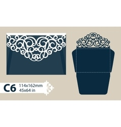 Template envelope with carved openwork pattern vector