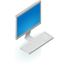 Isometric icon of desktop computer vector