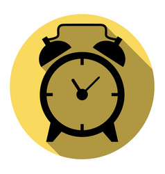 alarm clock sign flat black icon with vector image vector image