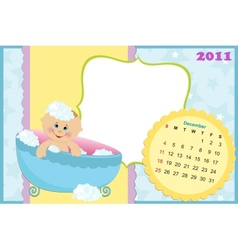 Babys calendar for december 2011 vector image