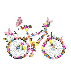 bike flowers vector image vector image
