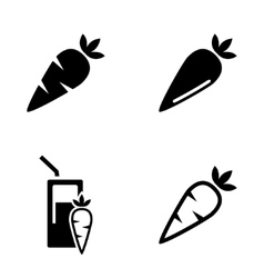 black carrot carrot meals icons set vector image