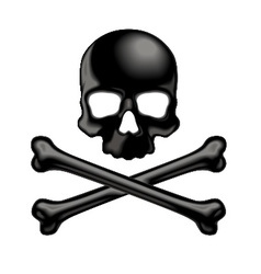 Black shaded skull and crossbones 3d icon vector