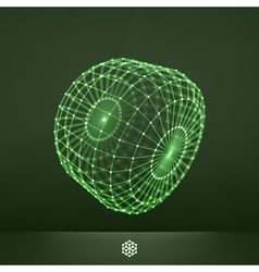 Connection structure wireframe glowing grid vector