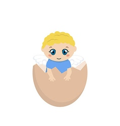 Cracked hens egg with baby inside vector