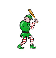 Elf baseball player batting isolated full cartoon vector