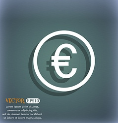 Euro icon sign On the blue-green abstract vector image vector image