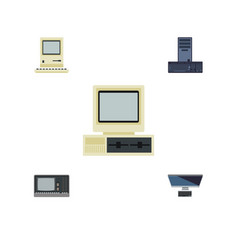 Flat icon computer set of pc computer vintage vector