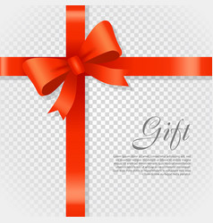 gift red wide ribbon bright bow with two petals vector image vector image