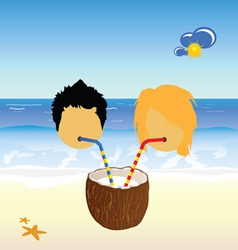 Girl and boy drink coconut milk vector