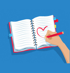 hand drawing heart shape in notebook vector image