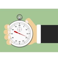 Hand holding stopwatch vector
