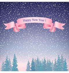 Happy new year landscape and pink ribbon vector