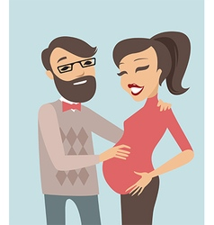Happy pregnant couple vector image vector image