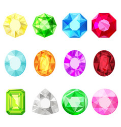 jewels diamonds gem stickers set vector image