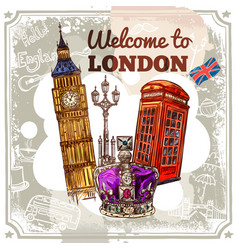 London sketch poster vector