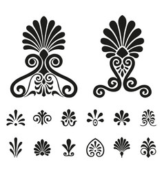 palmettes elements symbols set vector image