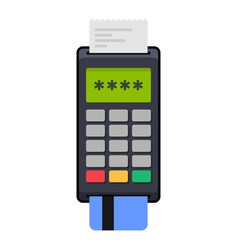 Payment pos terminal with card flat style icon vector