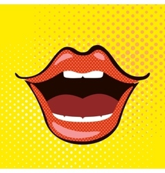 Pop art open mouth vector