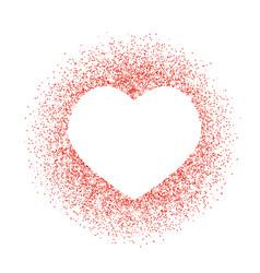 Red glitter heart frame border dust vector