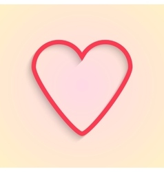 red outline heart isolated on cream background vector image vector image