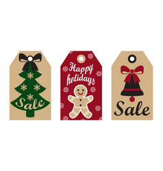Sale happy holidays labels on vector
