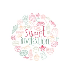 Set of Cakes Sweets and Desserts vector image