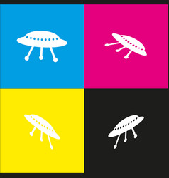 Ufo simple sign white icon with isometric vector