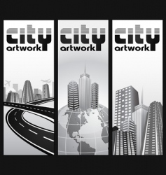 vertical city banners vector image