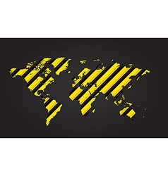 World map of yellow and black stripes danger vector