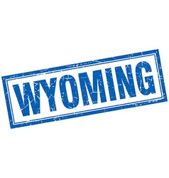 Wyoming blue square grunge stamp on white vector