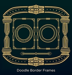 Ornament doodle border frames set in vintage style vector
