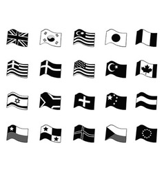 Black country flags icon set vector