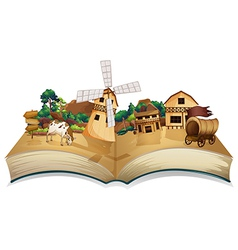 A book with an image of a village and wooden vector image