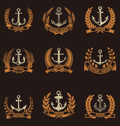 Set of the emblems with anchors and wreaths in vector