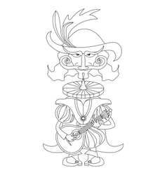 Noble cavalier with mandolin outline vector image