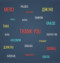 Colored lettering thank you in different languages vector