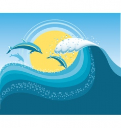 seascape with dolphins vector image