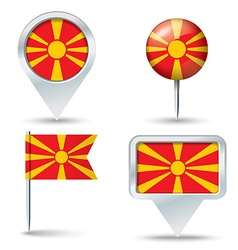 Map pins with flag of macedonia vector