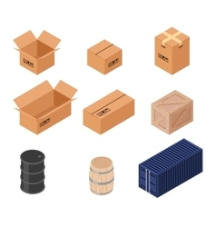 Set of isometric boxes vector