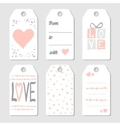 Gift tags with hearts and love vector