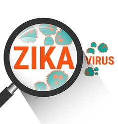Magnifying glass with zika virus vector