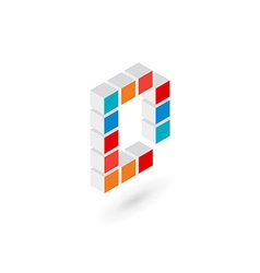 3d cube letter d logo icon design template vector