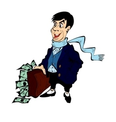 Rich man with a suitcase full of money isolated vector