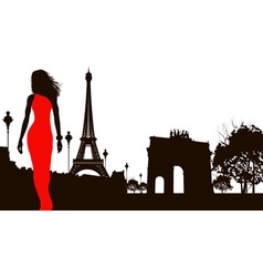 Lady in a red dress walking through paris vector