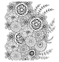 Pattern with doodle ornament of flowers vector