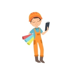 Boy with three wallpaper rolls and a checklist vector