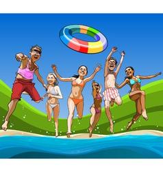 cartoon happy guys and girls having fun running vector image vector image