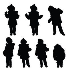 Child with cute hat posing silhouette vector